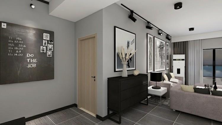白色的柜門搭配黑色簡約拉手,美