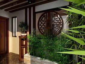 120平米新中式风格三居室,成熟稳重玄关2图中式现代设计图片赏析
