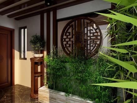 120平米新中式风格三居室,成熟稳重玄关2图