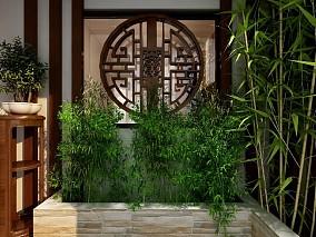 120平米新中式风格三居室,成熟稳重玄关1图中式现代设计图片赏析