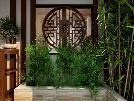 120平米新中式风格三居室,成熟稳重玄关1图