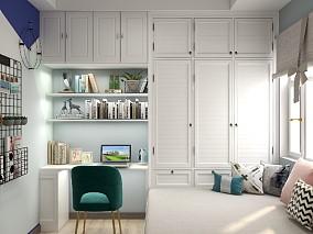 保利观澜107平米的美式风卧室美式经典设计图片赏析