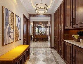258的中式风四居室,尽显豪宅气质玄关中式现代设计图片赏析