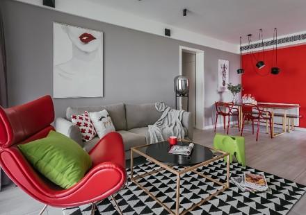 平淡生活里的诗空间撞色的独特魅力客厅1图