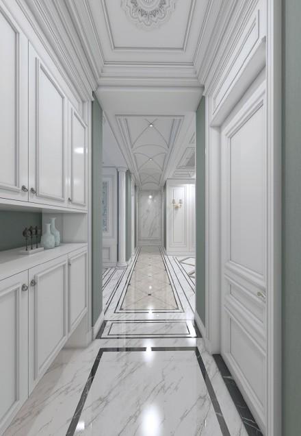 湖蓝+典雅白,一个有故事的法式三居室玄关
