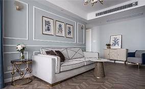 【天青色等烟雨】80㎡简美风格客厅2图美式田园设计图片赏析
