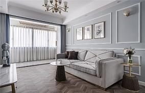 【天青色等烟雨】80㎡简美风格客厅1图美式田园设计图片赏析