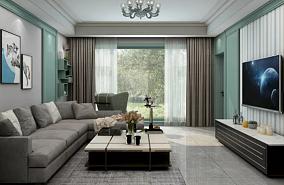 102㎡地中海轻奢风格两室客厅1图地中海设计图片赏析