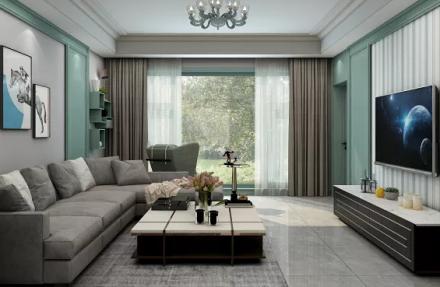 102㎡地中海轻奢风格两室客厅1图
