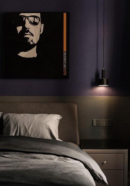 115㎡黑白灰简约风,精致简洁卧室