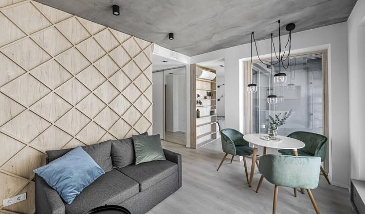极简北欧风,格菱纹木质沙发背墙!