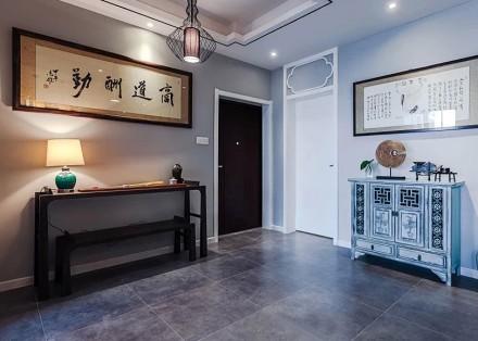 113m²新中式,天道酬勤泛蓝禅意小宅玄关2图