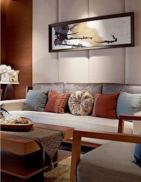 99m²新中式,宫廷古秋天枝叶客厅中式现代设计图片赏析