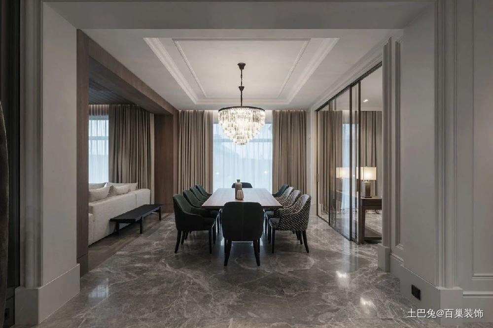 490m²顶级复式满满的豪宅感!厨房现代简约餐厅设计图片赏析