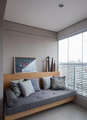 119㎡极简中奢华生活住宅阳台中式现代设计图片赏析