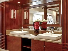 220㎡新中式,漫步檀色阳光闲庭卫生间中式现代设计图片赏析