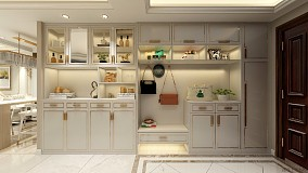 140㎡简欧风格案例,素雅静谧的空间玄关欧式豪华设计图片赏析
