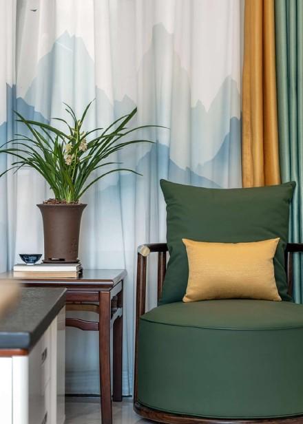108平方清隽秀丽现代新中式客厅