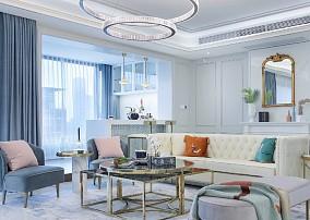 100㎡法式情调,满足对法式轻奢的想象客厅1图欧式豪华设计图片赏析