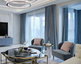100㎡法式情调,满足对法式轻奢的想象客厅3图欧式豪华设计图片赏析