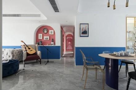 简约地中海,给新家注入一点蓝~客厅2图