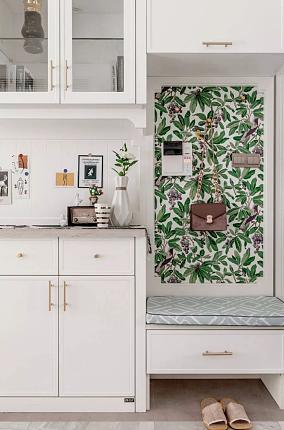 124平美式四房,归于清新自然玄关美式田园设计图片赏析