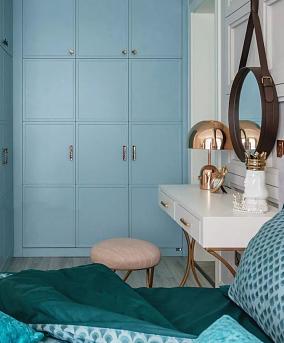 124平美式四房,归于清新自然卧室美式田园设计图片赏析
