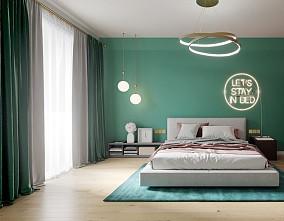 北欧风|粉绿结合营造惬意氛围卧室1图北欧极简设计图片赏析
