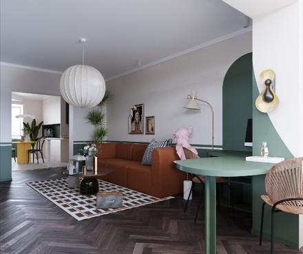102平轻奢复古色彩,多彩多姿的生活阳台