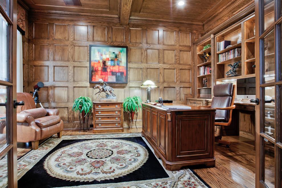 美式风格别墅豪华大气书房实木吊顶背景墙装修效果图