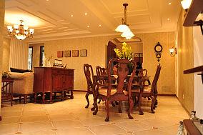 150平米花园洋房美式风格客厅餐厅隔断装修效果图