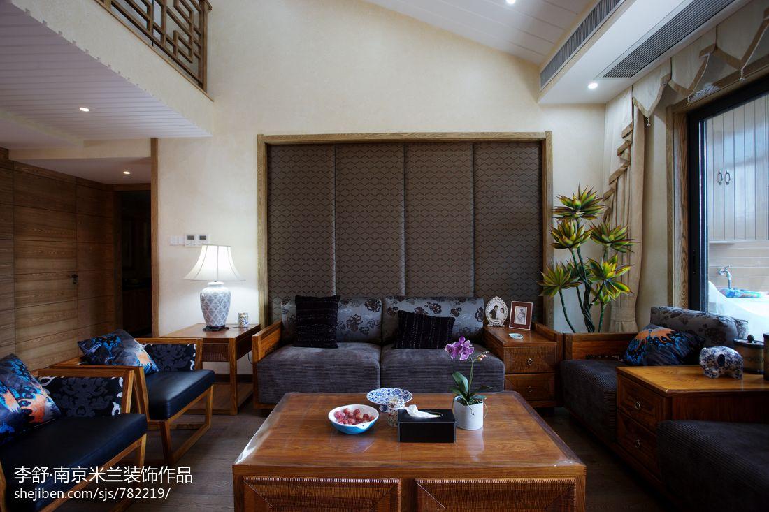 精选113平米中式别墅客厅装修效果图别墅豪宅中式现代家装装修案例效果图