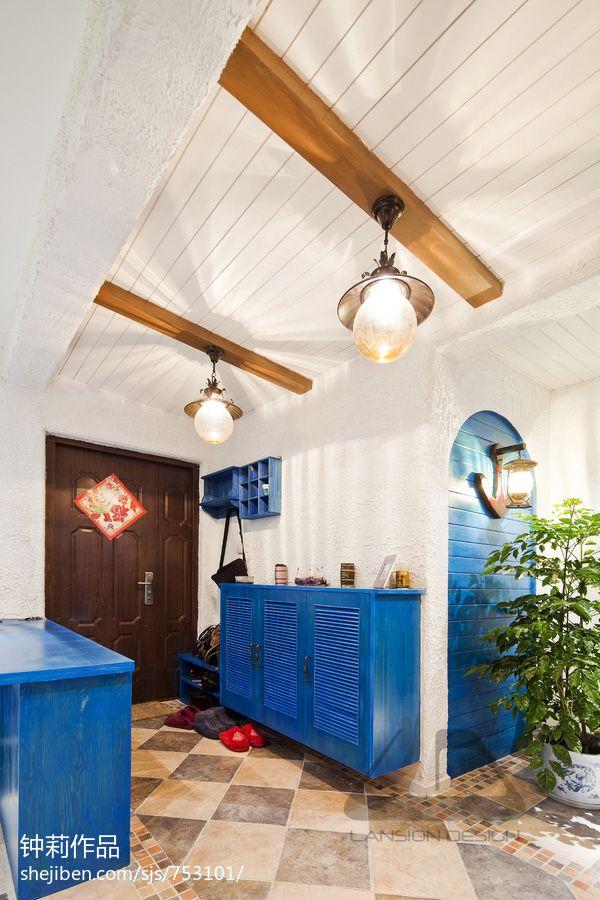 地中海风进门玄关过道吊顶装修效果图卧室潮流混搭卧室设计图片赏析