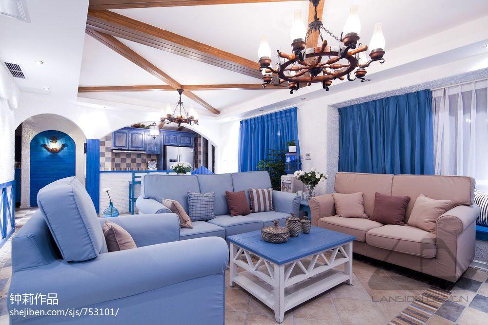 地中海风格客厅实木假吊顶设计效果图客厅潮流混搭客厅设计图片赏析