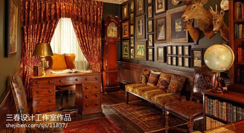 美式乡村风格书房装修效果图欣赏设计图片赏析