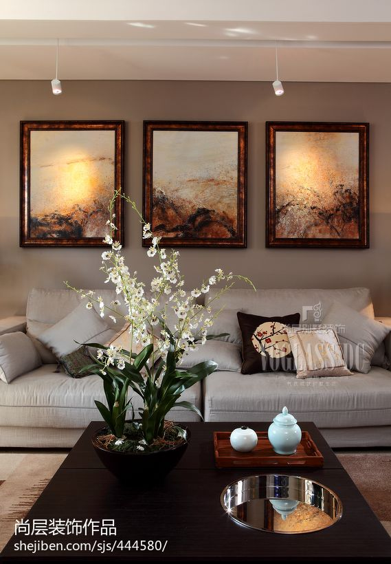 中式风格客厅沙发挂画效果图功能区1图其他功能区设计图片赏析