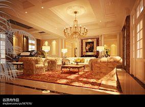 经典美式家居吧台设计效果图