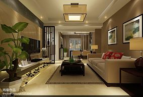 精选104平米3室客厅混搭设计效果图