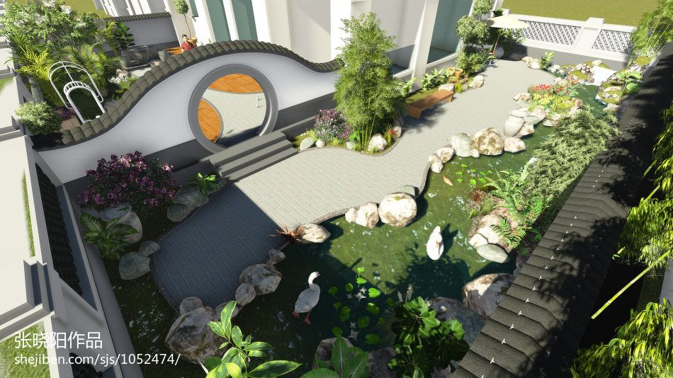 精美137平米中式别墅花园装饰图片欣赏功能区中式现代功能区设计图片赏析