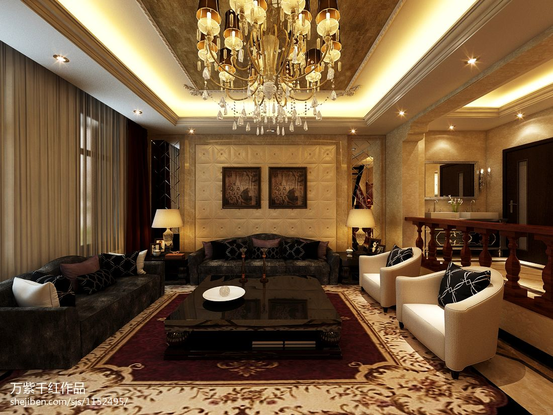 热门面积142平别墅客厅混搭装饰图片欣赏客厅潮流混搭客厅设计图片赏析