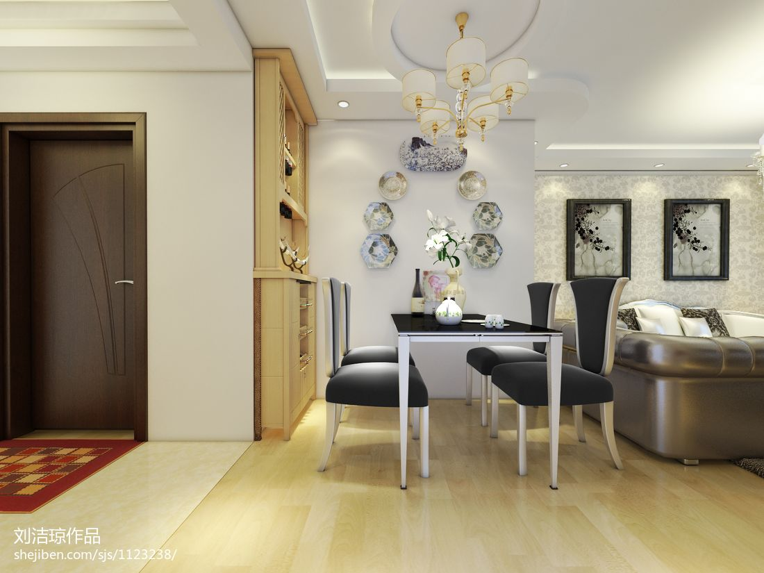 简洁90平混搭二居餐厅图片欣赏厨房潮流混搭餐厅设计图片赏析