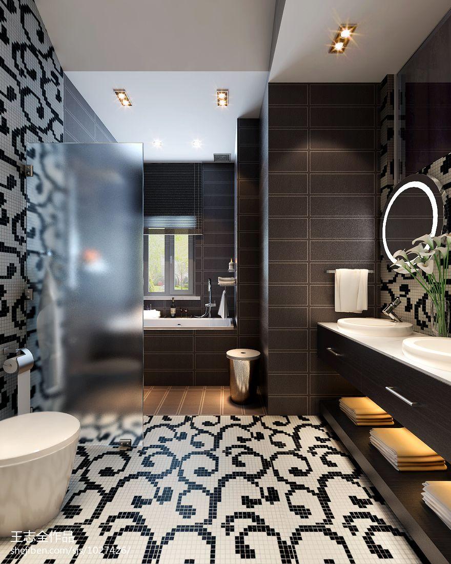 热门面积135平别墅卫生间混搭装修效果图片欣赏卫生间潮流混搭卫生间设计图片赏析