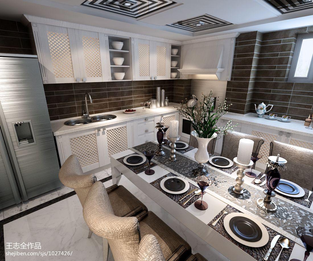热门面积128平别墅餐厅混搭实景图片大全厨房潮流混搭餐厅设计图片赏析