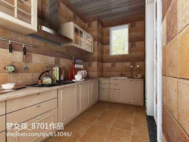 平方三居厨房混搭装修效果图餐厅潮流混搭厨房设计图片赏析