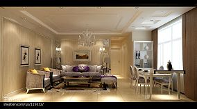 现代70平米一室一厅效果图