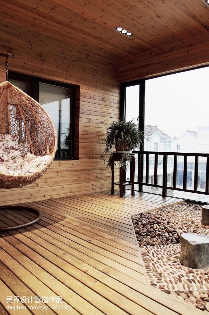 精选120平米中式别墅阳台装修设计效果图片大全阳台中式现代阳台设计图片赏析