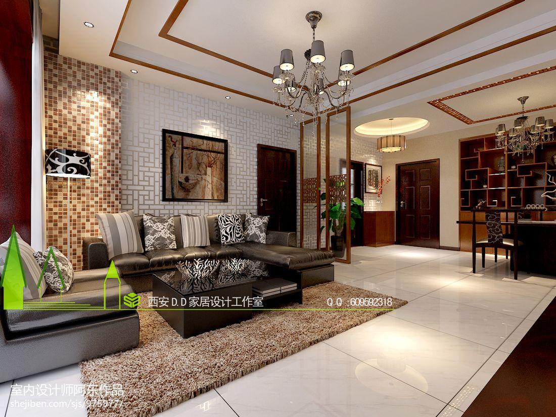 热门90平米三居客厅中式效果图片中式现代设计图片赏析