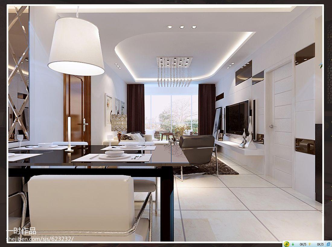 精选91平方三居餐厅现代效果图片大全厨房现代简约餐厅设计图片赏析
