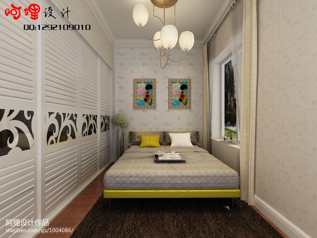 质朴101平中式四居卧室设计效果图卧室中式现代卧室设计图片赏析