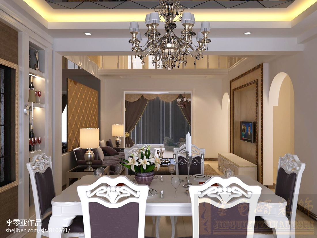 精选欧式复式餐厅效果图厨房欧式豪华餐厅设计图片赏析